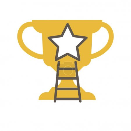Golden award cup with star