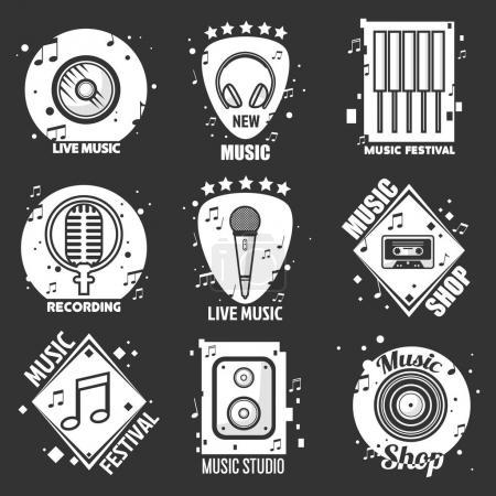 Live music festival  emblems set