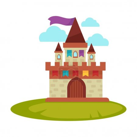 Cartoon medieval castle with high towers