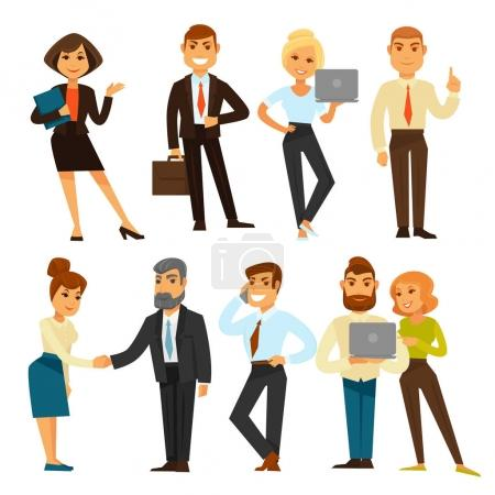 Business people while working time template vector illustration. Group of men and women having job in office and dealing with partners, making phone conversation, holding folders or laptops.