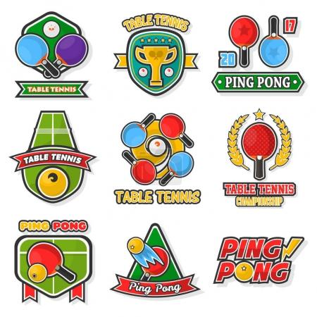 Table tennis colorful logo labels
