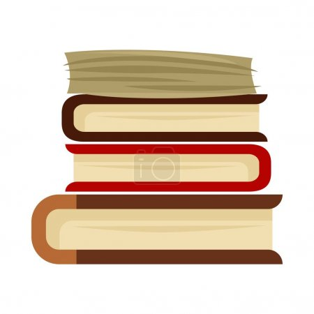 Pile of books on white background.