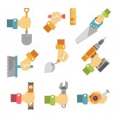 Hands holding tools colorful vector on white Vector collection in flat design of male arms keeping instruments for outdoor and indoor building or garden reconditioning and repairing