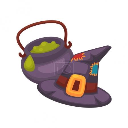 Witch violet hat and pot with porridge