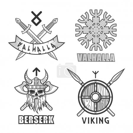 Authentic vikings themed logo isolated