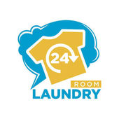24 Hours laundry room promotional logotype with yellow T-shirt blue cloud behind and sign underneath isolated vector illustration on white background Convenient public laundromat advertising emblem