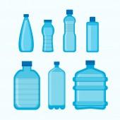 Set of different water bottles over white background vector illustration