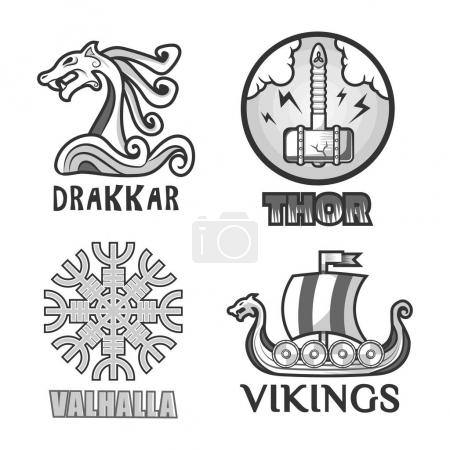 Viking warriors logo set