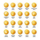 Bitcoin golden coins icons