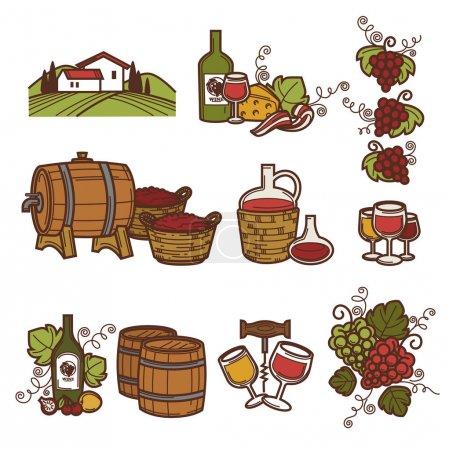 Wine emblem design, vector illustration...