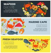 Marine cafe with fresh seafood advertisement on Internet page with raw crab exotic lobsters expensive salmon exquisite oysters king shrimps and ink squid cartoon flat vector illustrations