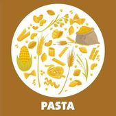Exquisite delicious Italian pasta advertisement poster with pastry products bag of flour golden wheat ears and ripe corn crop in big circle isolated cartoon vector illustrations on white background