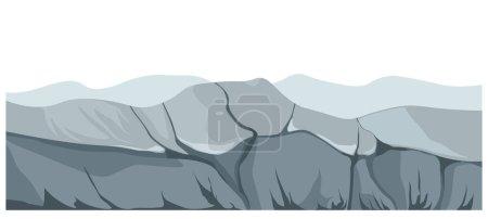 Paysage montrant des montagnes et des rochers de lieu abandonné. Paysage à l'atmosphère sombre, environnement avec relief rigide et falaises, zone sauvage avec texture rugueuse du sol. Vecteur en style plat