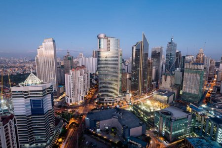 Makati Skyline at night. Makati is a city in the P...