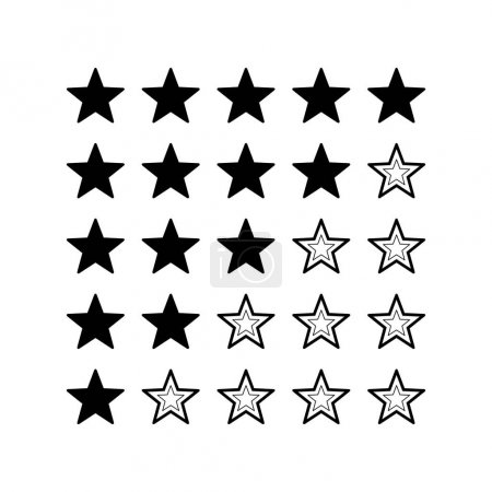 Five stars rating, black and white