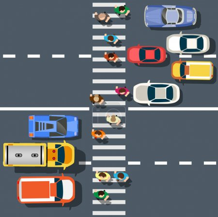Illustration for Top view from city street with asphalt and transport. People walking down the sidewalk, intersecting the road at a pedestrian crossing. Urban landscape of the big place - Royalty Free Image