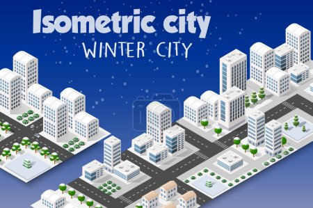 Illustration for Isometric set of the modern 3D city. Winter landscape snowy trees, streets. Three-dimensional views of skyscrapers, houses, buildings and urban areas with transport roads, intersections - Royalty Free Image