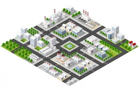 Illustration for Isometric plant in 3D dimensional projection includes factories and industrial buildings, boilers, warehouses, hangars, power stations, streets, roads, trees. Urban infrastructure of city metropolis. - Royalty Free Image