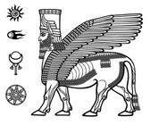 Image of the Assyrian mythical deity Shedu: a winged bull with the head of the person Character of Sumer mythology Set of space solar symbols Black-and-white vector illustration