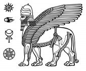 Image of the Assyrian mythical deity of Shedu: a winged lion with the head of the person Character of Sumer mythology Set of space solar symbols Black-and-white vector illustration