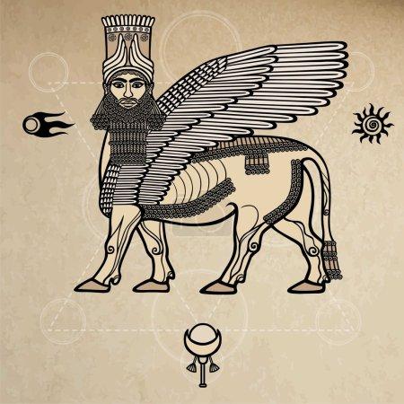 Illustration pour Image de la divinité mythique assyrienne Shedu : un taureau ailé avec la tête de la personne. Caractère de la mythologie sumérienne. Symboles spatiaux. Un fond - imitation de vieux papiers . - image libre de droit