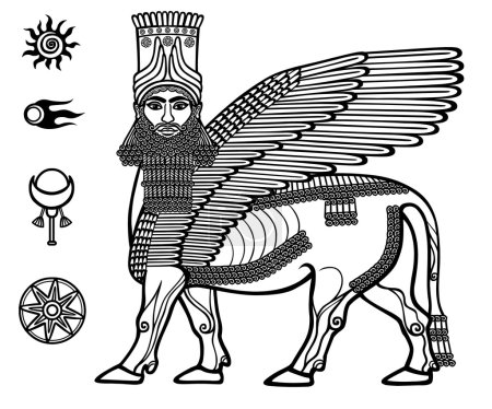 Illustration pour Image de la divinité mythique assyrienne Shedu : un taureau ailé avec la tête de la personne. Caractère de la mythologie sumérienne. Ensemble de symboles solaires spatiaux. Illustration vectorielle noir et blanc . - image libre de droit