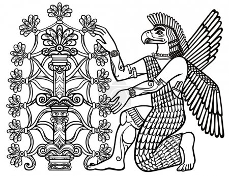 The silhouette of the Assyrian deity collects fruits from a fantastic tree. Character of Sumerian mythology. Linear drawing, the black silhouette isolated on a white background. Vector illustration.