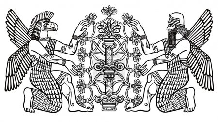 The silhouette of the Assyrian deities collects fruits from a fantastic tree. Character of Sumerian mythologyThe silhouette of the Assyrian deities collects fr. Linear drawing, the black silhouette isolated on a white background. Vector illustration.