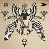 Ancient Assyrian winged deity Character of Sumerian mythology Vector illustration Background - imitation of old paper
