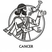 Zodiac sign Cancer Vector art Black and white zodiac drawing isolated on white