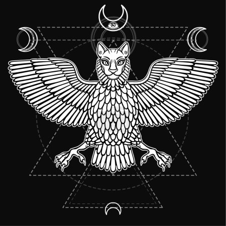 The mythical animal, Anzud with a body of a bird and the head of a lion. Character of Sumerian mythology. Sacred geometry. Monochrome drawing, vector illustration. Print, posters, t-shirt, textiles.
