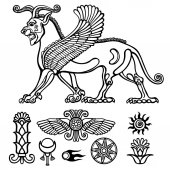 Image of Assyrian winged animal Horned lion Character of Sumerian mythology Set of solar symbols Llinear drawing isolated on a white background Vector illustration be used for coloring book