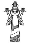 Vector illustration: the stylized goddess Ishtar Character of Sumerian mythology Full growth The black silhouette isolated on a white background
