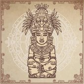 Linear drawing: decorative image of an ancient Indian deity Magic circle A background - imitation of old paper Vector illustration
