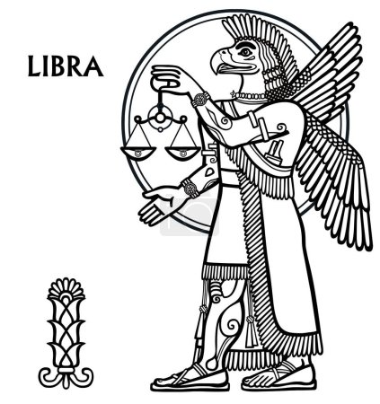 Zodiac sign Libra. Vector art. Full growth. Black and white drawing isolated on white.