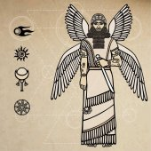 Ancient Assyrian winged deity Character of Sumerian mythology Space symbols Background - imitation of old paper Vector illustration