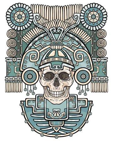 Illustration pour Crâne stylisé. Dieu païen de la mort. Motifs de l'art Amérindien. Illustration vectorielle en couleur isolée sur fond blanc. Design ethnique, boho chic. Impression, affiches, t-shirt, textiles . - image libre de droit