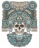 Stylized skull Pagan god of death Motives of art Native American Indian Vector color illustration isolated on a white background Ethnic design boho chic Print posters t-shirt textiles