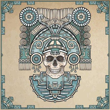 Illustration pour Crâne stylisé. Dieu païen de la mort. Motifs de l'art Amérindien. Illustration vectorielle en couleur, fond imitation de vieux papiers. Design ethnique, boho chic. Impression, affiches, t-shirt, textiles . - image libre de droit