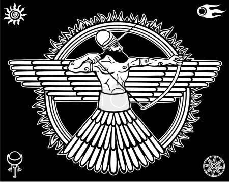 Illustration pour Image d'une divinité ancienne.Ensemble de symboles ésotériques. Le dessin linéaire blanc isolé sur un fond noir. Illustration vectorielle . - image libre de droit