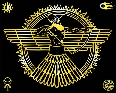 Image of an ancient deity.Set of esoteric symbols. The yellow linear drawing isolated on a black background. Gold imitation. Vector illustration.