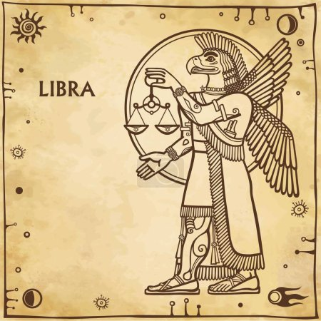 Zodiac sign Libra. Drawing based on motives of Sumerian art. Full growth. Background - imitation of old paper, space symbols. The place for the text. Vector illustration.