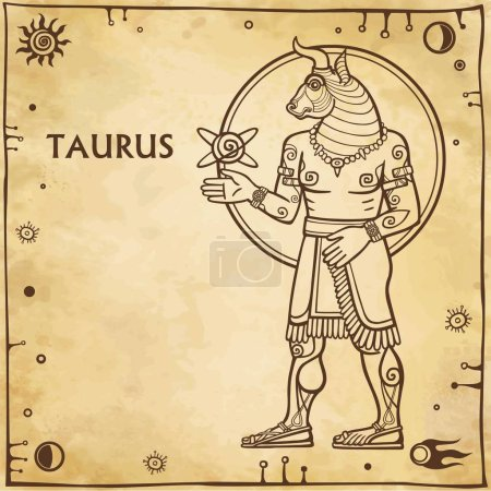 Illustration for Zodiac sign Taurus. Image of the person - a centaur. Drawing on motives of Sumerian art. Full growth. Background - imitation of old paper, space symbols. The place for the text. Vector illustration. - Royalty Free Image