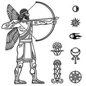 Image of the ancient archer Full growth Black and white drawing based on motives of Sumerian art isolated on a white background Space symbols Vector illustration