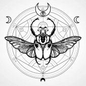 Winged bug Mystical circle Esoteric symbol sacred geometry Sign of the moon Monochrome drawing isolated on a white background Vector illustration Print posters t-shirt textiles