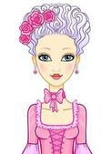 Animation portrait of the girl in style of rococo. Marie Antoinette. Princess, maid of honor, fairy. Vector illustration isolated on a white background.