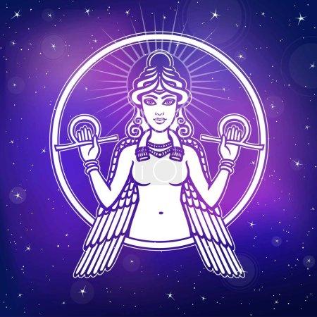 Vector illustration stylized goddess Ishtar