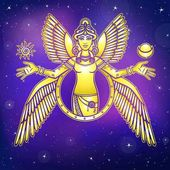 Vector illustration: stylized goddess Ishtar Character of Sumerian mythology Angel queen idol mythical character Background - the night star sky Gold imitation