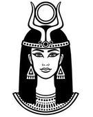 Animation portrait of the beautiful Egyptian woman Horned goddess Isis Black the white vector illustration isolated on a white background Print poster t-shirt tattoo