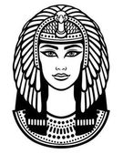 Animation portrait of the beautiful Egyptian woman Black the white vector illustration isolated on a white background Print poster t-shirt tattoo